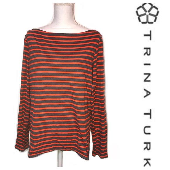 e219bf8e1b404  Trina Turk  Striped Long Sleeve Shirt. M 5b55182204ef50feae23680b